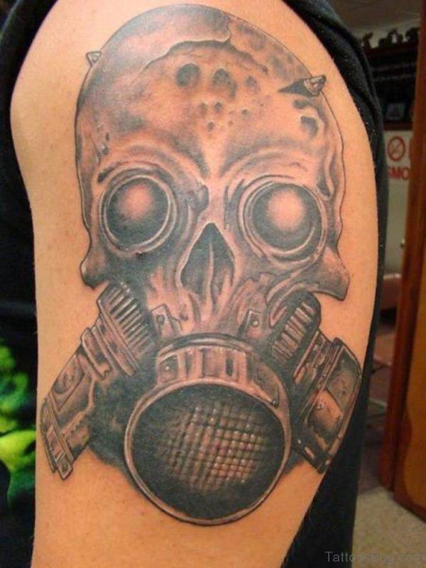 Skull Gas Mask Tattoo On Shoulder