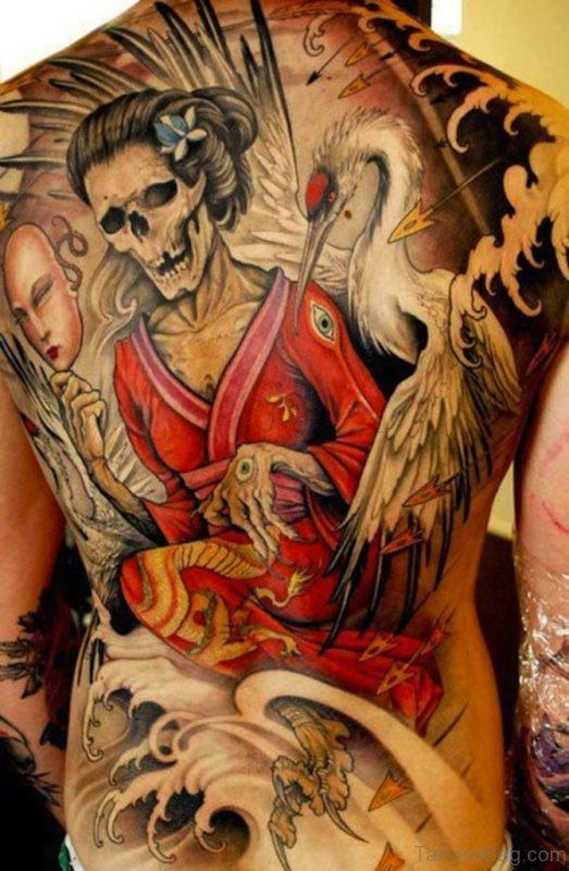 Skull Geisha Tattoo On Back