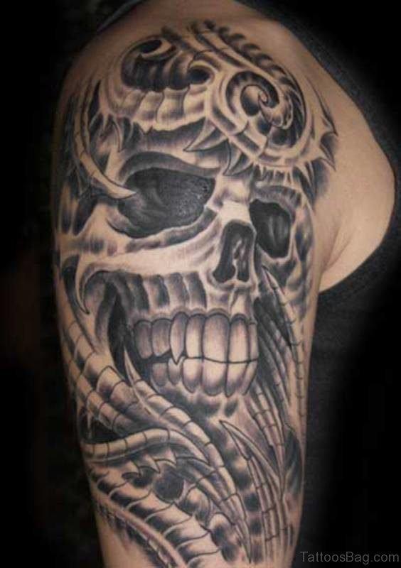 Skull Half Sleeves Shoulder Tattoo