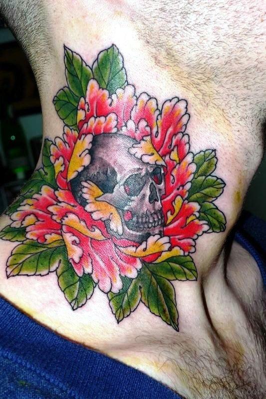 Skull In Flower Tattoo On Neck