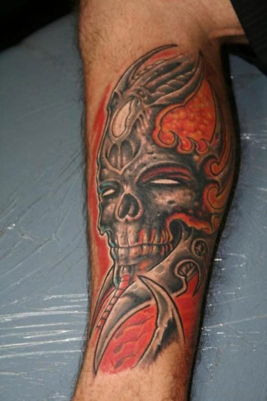 Skull Leg Tattoo Design