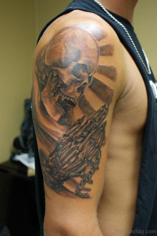 Skull Praying Hands Tattoo