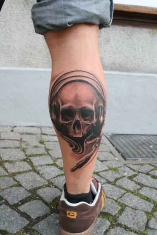 Skull Tattoo Design On Leg
