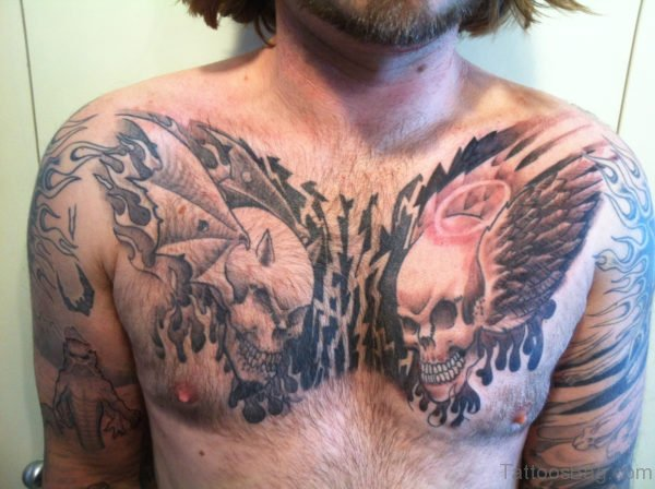 Skull Tattoo On Chest
