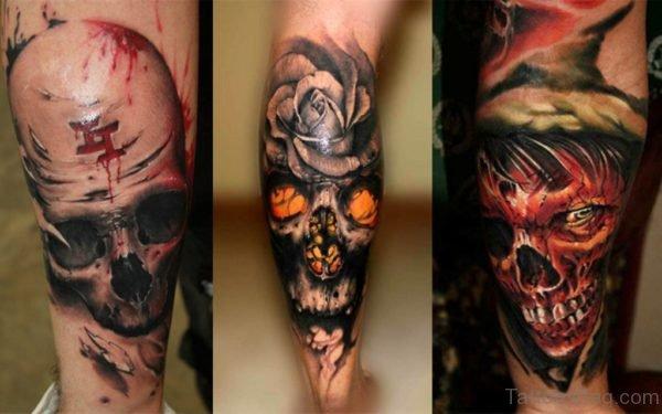 Skull Tattoo On Leg