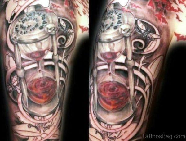 Skull Timer Shoulder Tattoo