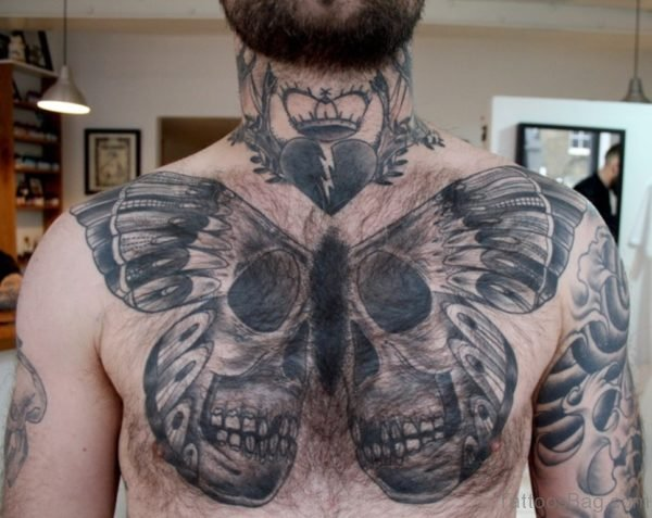 Skull With Butterfly Tattoo
