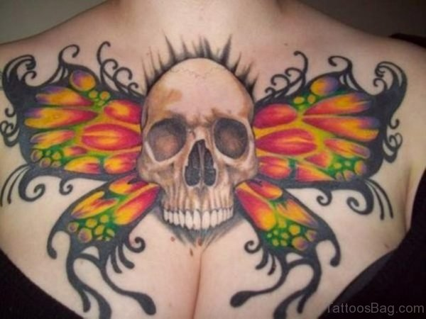 Skull With Butterfly Wings Tattoo