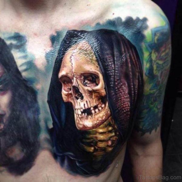 Skull With Hood Chest Tattoo
