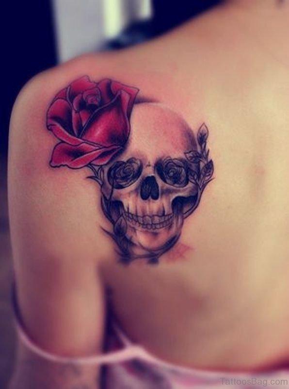 Skull With Rose Shoulder Blade Tattoo