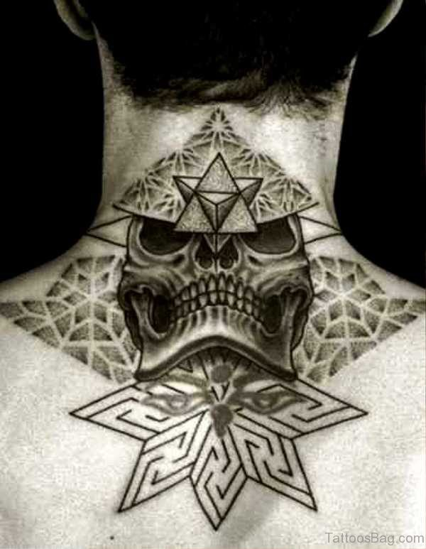 Skull With Star Tattoo On Neck