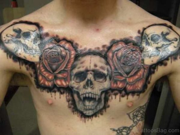 Skulls And Rose Tattoo On Chest