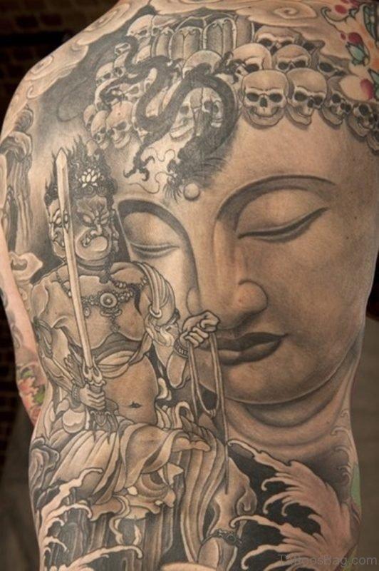 Skulls Snake And Buddha Tattoos On Back