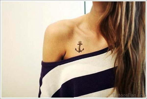 Small Anchor Tattoo On Chest