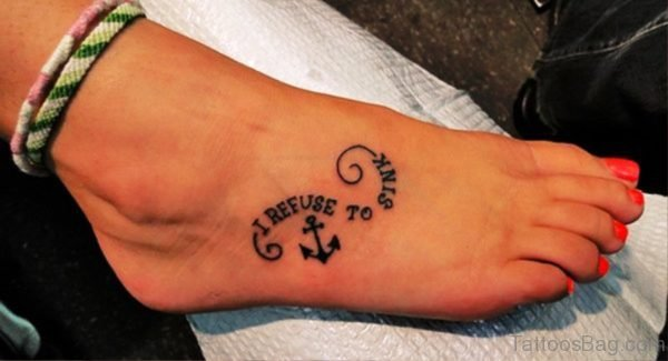 Small Anchor Tattoo On Foot