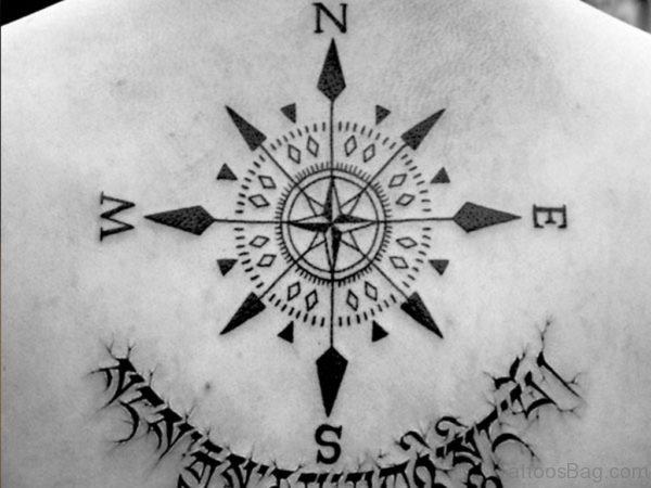 Small Arrow Anchor Compass Tattoo Design