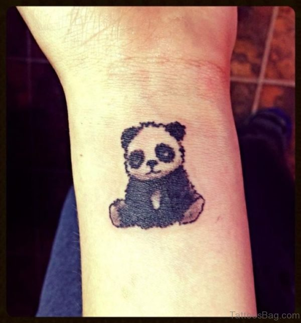 Small Baby Panda Tattoo On Wrist
