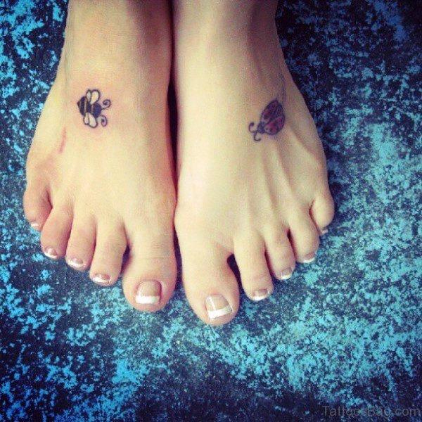 Small Bees Tattoo On Feet
