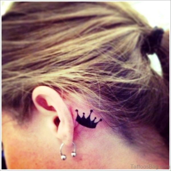 Small Black Crown Tattoo On Neck crwn743