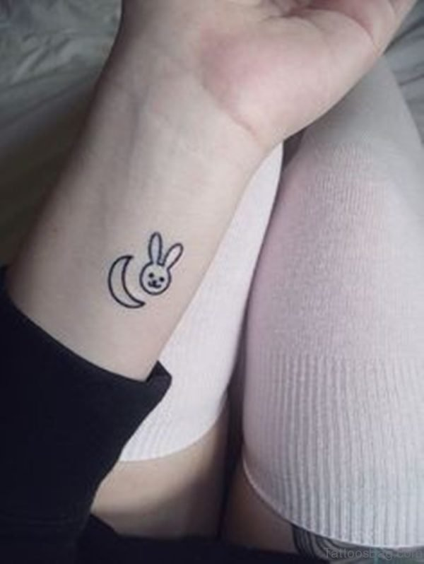 Small Bunny Tattoo On Wrist