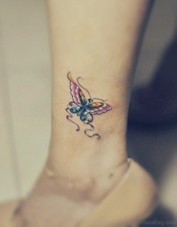 Small Butterfly Tattoo Design For Ankle