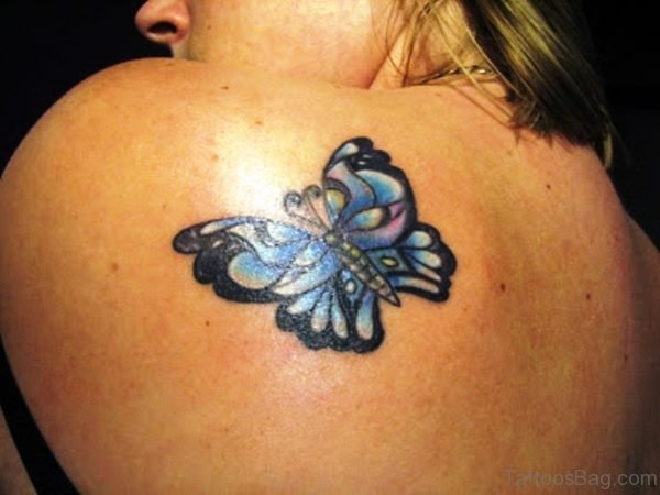 Small Butterfly Tattoo On Shoulder Back