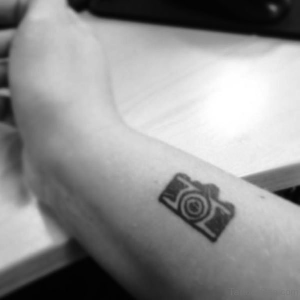 Small Camera Wrist Tattoo