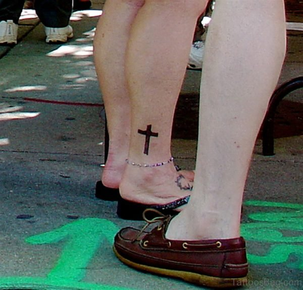 Small Cross Tattoo On Ankle
