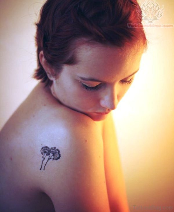 Small Dandelion Tattoo On Shoulder