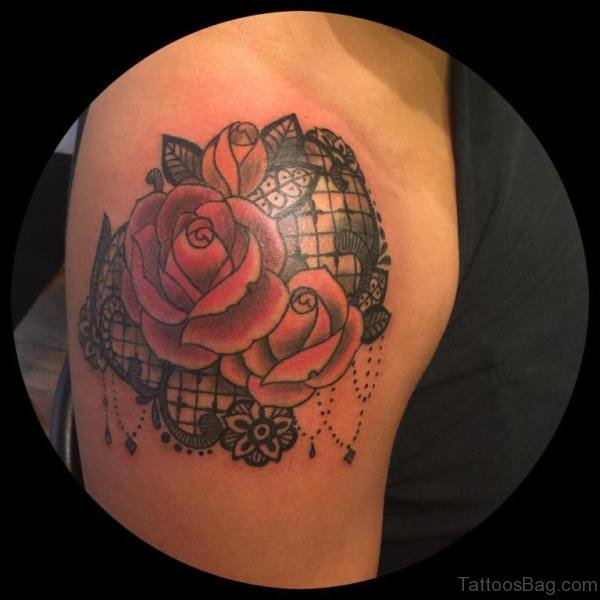 61 matchless lace shoulder tattoo designs for Rose lace tattoo