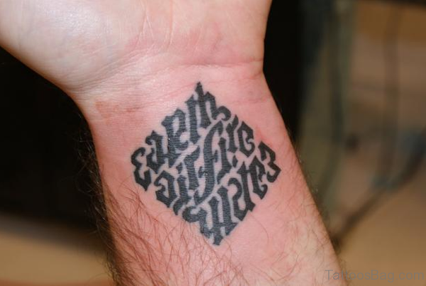 Small Earth Air Water Fire Ambigram Tattoo On Wrist