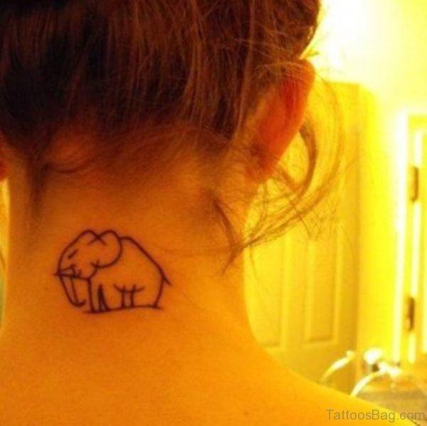 Small Elephant Tattoo On Neck Back