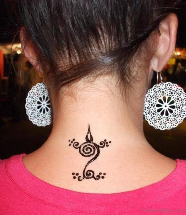 Small Henna Tattoo On Neck