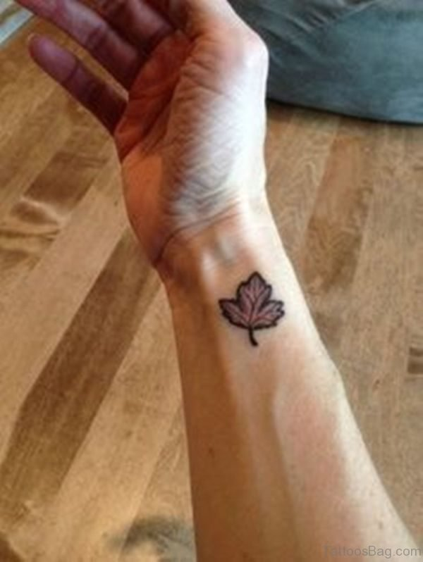 Small  Maple Wrist Tattoo