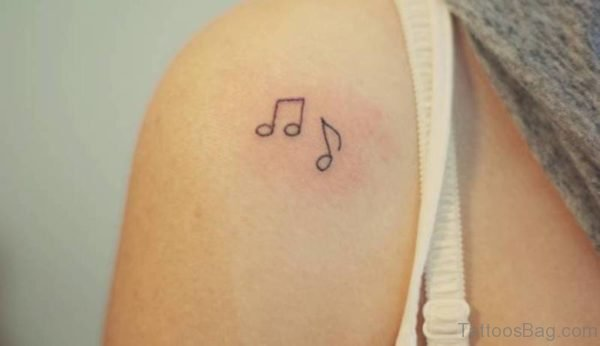 Small Music Note Tattoo On Shoulder