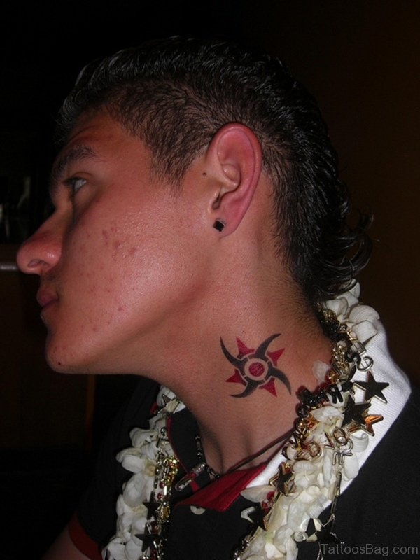 Small Red ANd Black Tribal Neck Tattoo