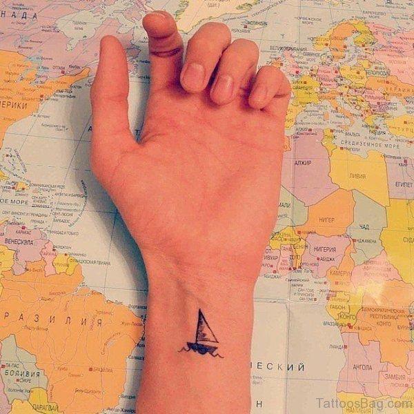 Small Ship Tattoo Design