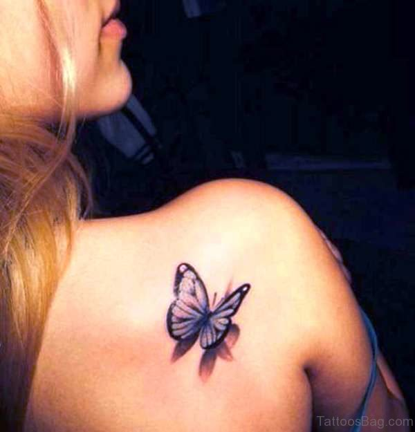 Small Shoulder Butterfly Tattoo