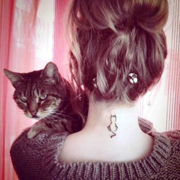 Small Simple Cat Neck Tattoo