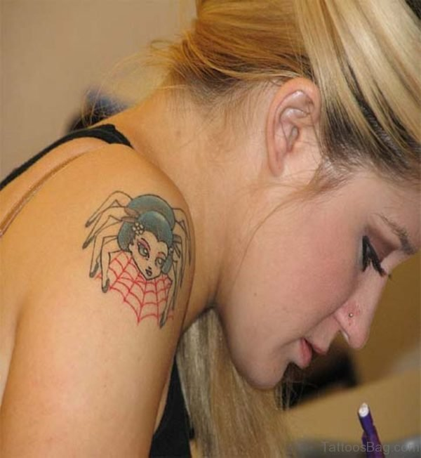 Small Size Geisha Spider Tattoo On Shoulder