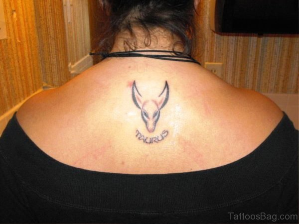 Small Taurus Bull Tattoo On Back