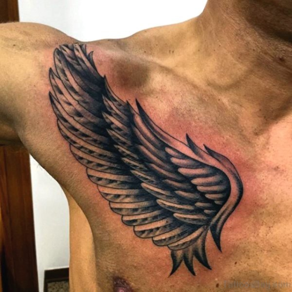 Small Wings Tattoo On Upper Chest