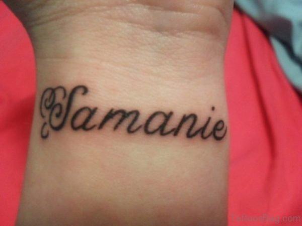 Small Word Tattoo On Wrist