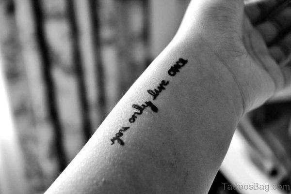 Small Wording Tattoo On Wrist