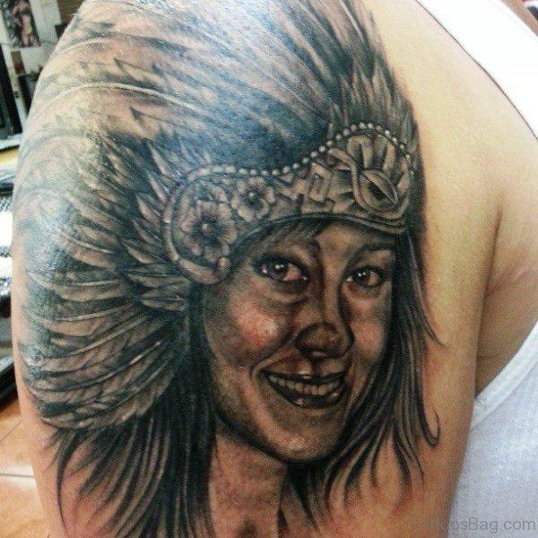 Smiling Aztec Girl Tattoo