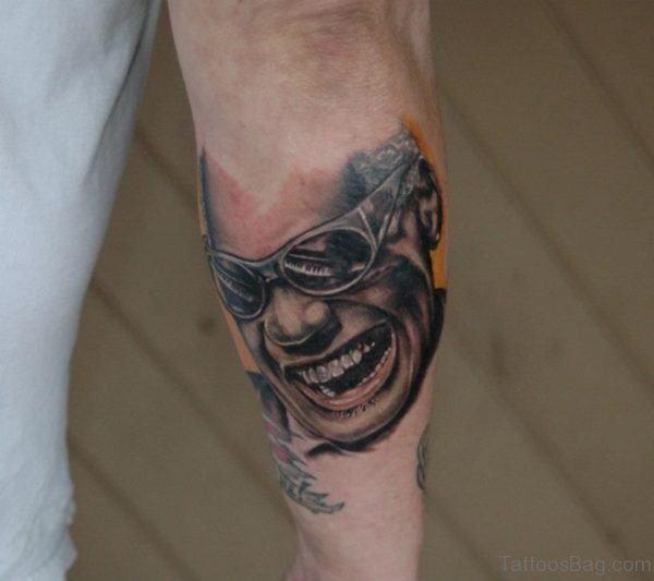 Smiling Face Portrait Tattoo On Leg