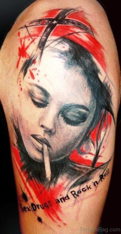 Smoking Girl Tattoo On Shoulder
