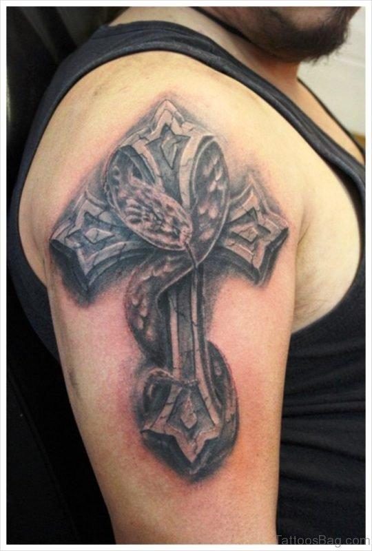 Snake And Cross Tattoo