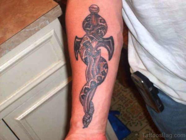 Snake Dagger Tattoo On Arm