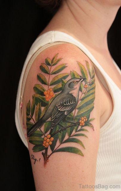 Sparrow Tattoo Design On Shoulder